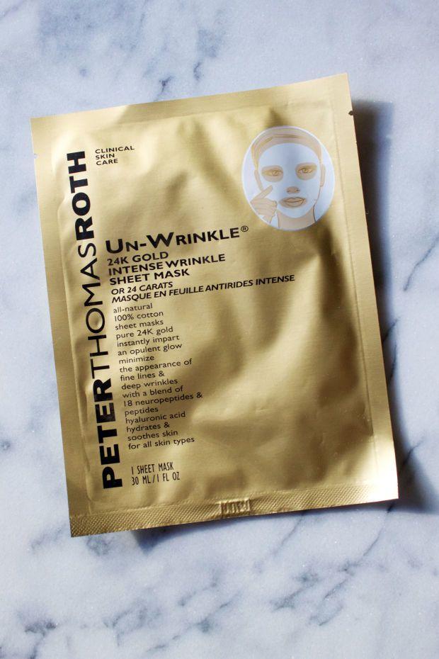 Peter Thomas Roth Un-Wrinkle 24k Gold Intense Wrinkle Sheet Mask http://beautyeditor.ca/2016/02/11/best-sheet-masks
