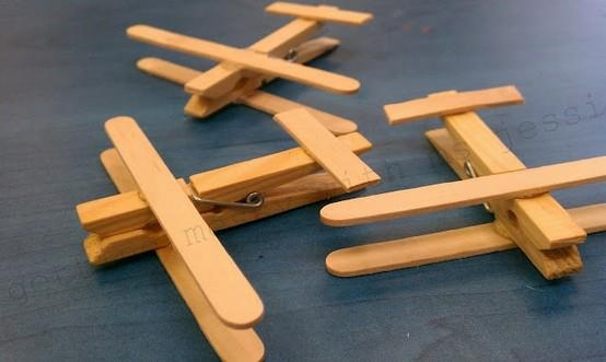 Clothespin and Popsicle stick planes for kids craft