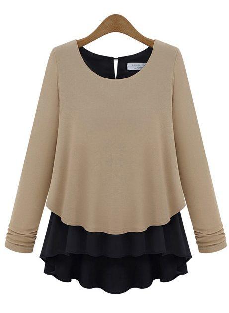 Khaki Long Sleeve Ruffles Chiffon Sweater US$25.62
