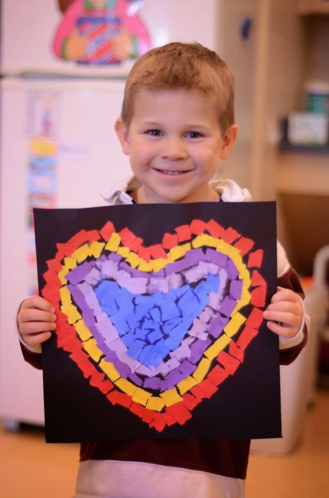 Beautiful Valentine's Day art made with just construction paper and glue
