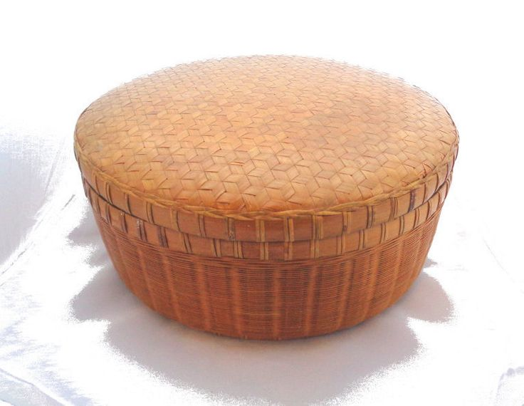 Vintage large round wicker basket with lid woven sewing needlework basket box retro bathroom bedroom storage wicker hamper from Ireland by IrishBarnVintage on Etsy