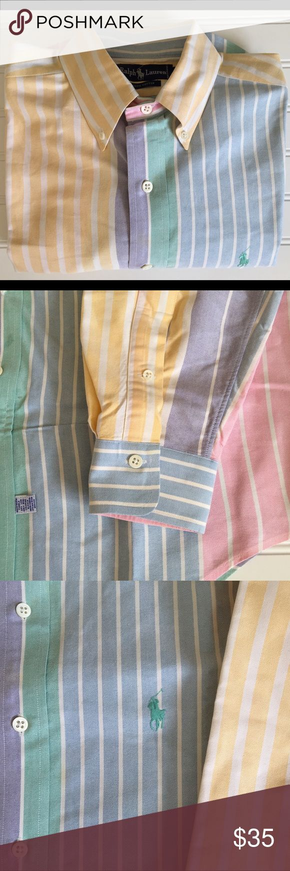 POLO RALPH LAUREN Pastel Colors!   15 1/2-34 POLO Ralph Lauren Long Sleeve Button Down DressShirt! Bright/Bold Striped Pastel Colors! Blue/Pink/Green\Yellow. Vintage Tag! Excellent Condition!  Men's Size L - 15 1/2 - 34 Armpit to armpit: 24 1/2 inches Top of back collar to bottom/back tail: 35 1/2 inches Top shoulder hem to tip of sleeve cuff: 26 1/2 inches Polo by Ralph Lauren Shirts Dress Shirts