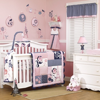 Pink W Navy Blue Nursery Bedding Madison By Cocalo Baby