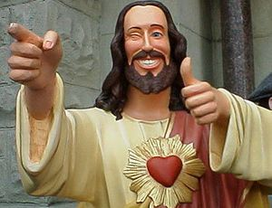 """Buddy Christ""-- what happens when we make Jesus in our own image and cut out all talk about sin, death, judgment, and Hell, and reducing charity and mercy to sentimentalism.  Catholicism is not just a beautiful tradition;  it's a smart tradition, so there's reason-- THE Reason-- behind all the pretty stuff.  Let's please stop dumbing it down.  The beauty is intellectual, too.  Because of Christ, the Logos Incarnate."