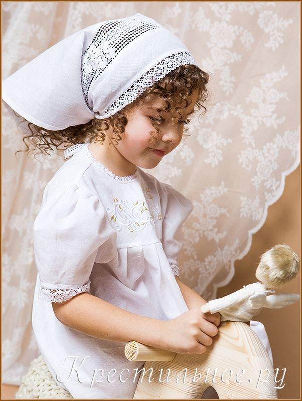 Косынка для крещения девочки из тонкого хлопка или умягченной хлопка или льняной ткани (ткань подбираем под выбранное крестильное платье).