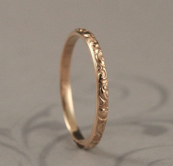 Is it possible for her to make this in sterling silver? It's 2mm. Solid 14K Yellow Gold Rococo in the Disco Wedding Band--Solid 14K Gold Swirl Patterned Ring Custom made in YOUR Size