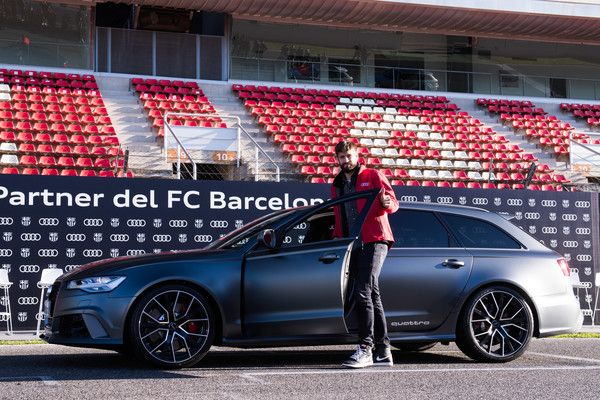 Gerard Pique of FC Barcelona is presented with his new Audi car during the Audi Car handover to the players of FC Barcelona on November 30, 2017 at Circuit de Barcelona-Catalunya in Montmelo, near Barcelona, Spain.
