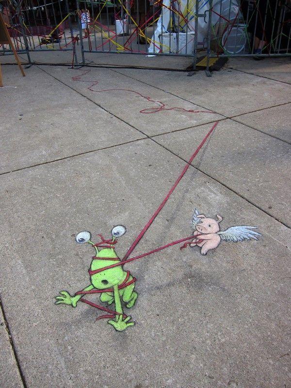 David Zinn - street artist chalk