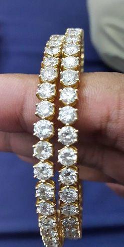 Single line Diamond Bangles available from Divine Gems & Jewellery Pvt. Ltd.  W: www.divinejewellery.net    FB: www.facebook.com/divinegemsandjewellery