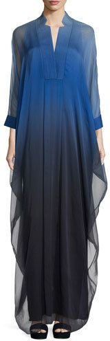 Halston Heritage 3/4-Sleeve Ombre Caftan Gown, Wisteria