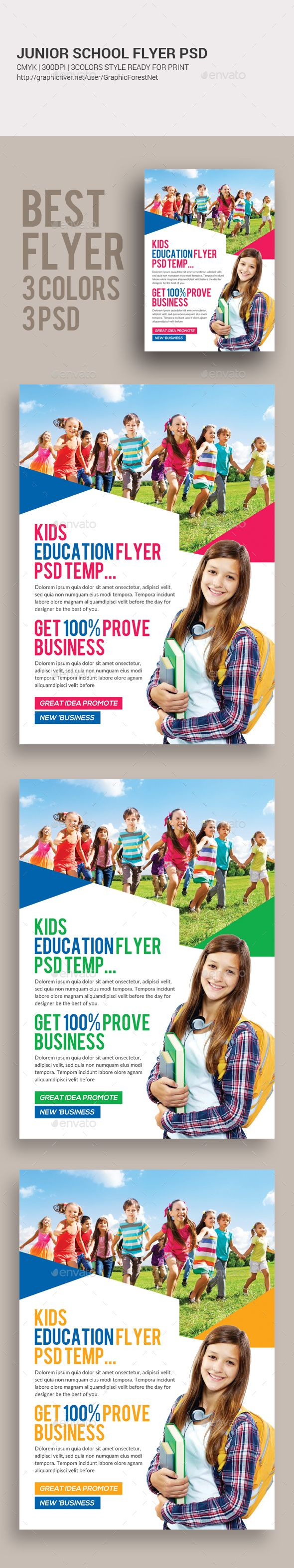 Junior School Education Flyer  — PSD Template #flyer #poster • Download ➝ https://graphicriver.net/item/junior-school-education-flyer/18390245?ref=pxcr