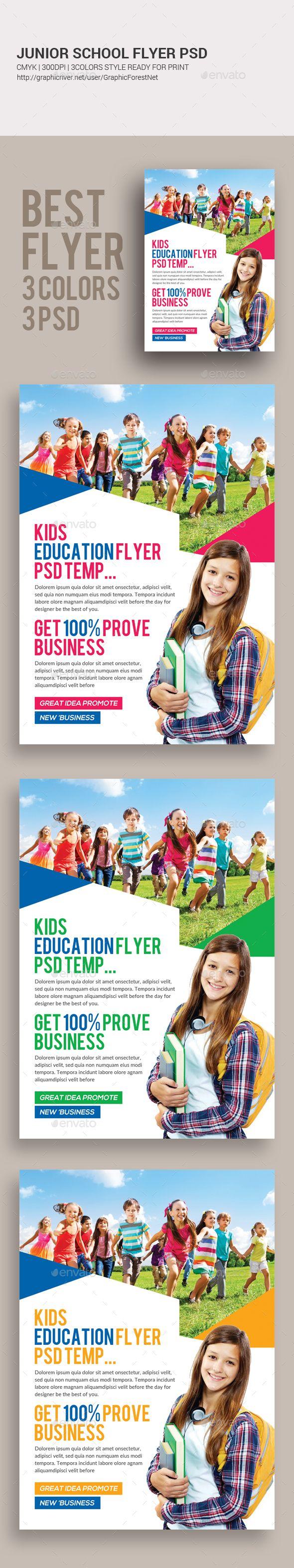 Junior School Education Flyer  — PSD Template #flyer #poster • Download ➝ https://graphicriver.net/item/junior-school-education-flyer/18390245?ref=pxcr
