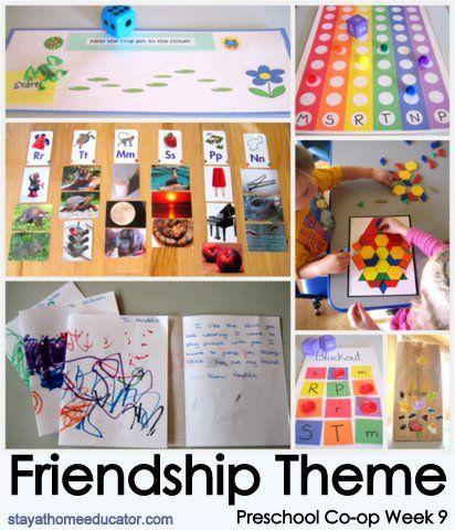 Preschool Co-op Week 9 - Friendship Theme  Gameboard Idea (up on top): Help frog get to his friend toad!