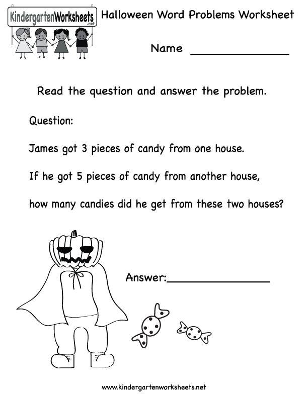kindergarten halloween word problems worksheet printable worksheets legacy pinterest. Black Bedroom Furniture Sets. Home Design Ideas