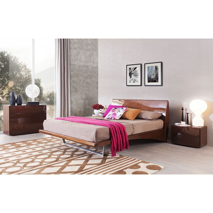 MONACO Platform Mid Century Style Bed +2 Night Stands   Glossy Walnut By  Nexus