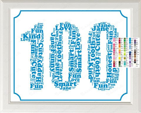 100th Birthday Word Art Birthday Print 100th Birthday