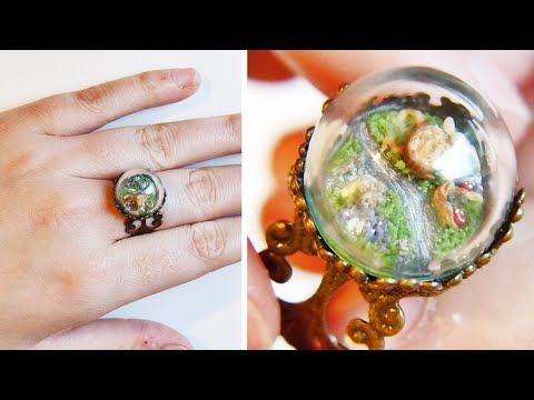 You could do some really cool things with this idea: put a little tiny fairy under the dome, or a butterfly, or a bug. Another idea: do the landscape or fairy laying down and then use doming resin. ♦ Non-Chan's Creations - Tutorial: miniature nature scenery glass dome ring - YouTube