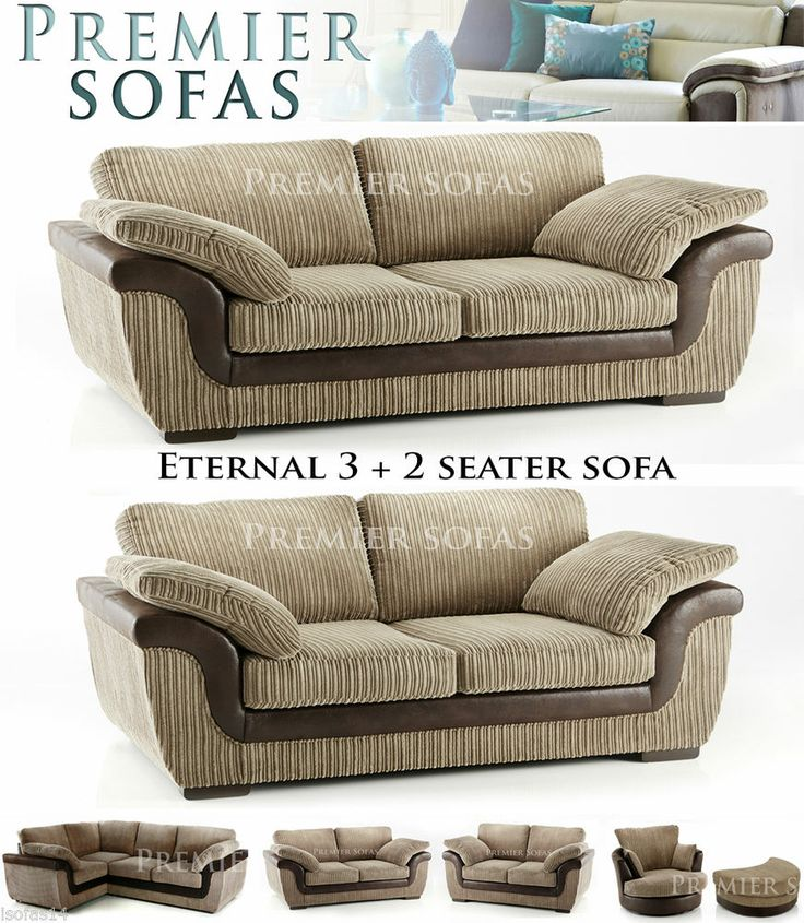 BRAND NEW ETERNAL SOFA 3 + 2 SEATER SUITE IN BROWN LUXURY JUMBO CORD FABRIC