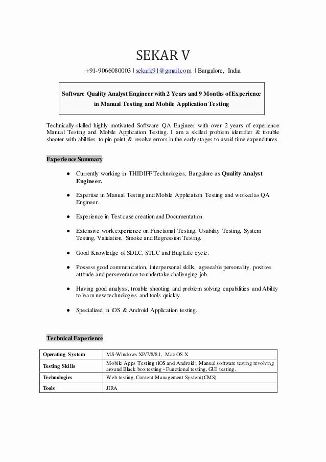 Qa Tester Resume With 5 Years Experience Best Of Sekar Quality Analyst Resumec Job Resume Samples Good Resume Examples Graphic Design Resume