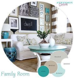 I've been thinking about painting a hutch a turquoise color, but not sure if it would go well in my taupe living room... this makes it look like it might!