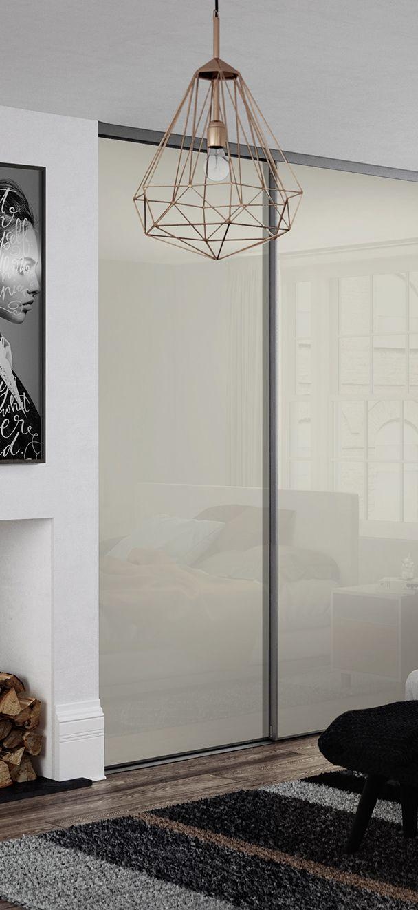 Sliding door s800 - Premium Mini Single Panel Sliding Wardrobe Doors In Soft White Glass With A Titanium Frame
