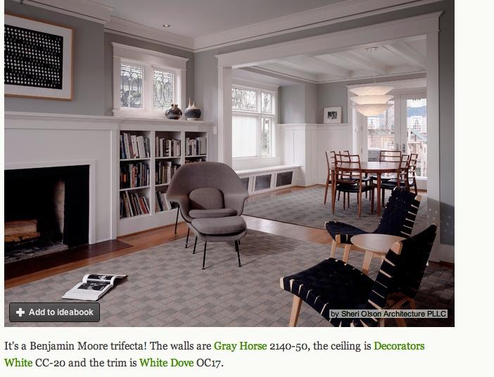 Benjamin Moore Gray Horse Decorators White Ceiling And Dove Trim