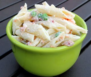 Bacon Ranch Pasta Salad - Cook 1 lb pasta.  Drain & cool. Add 3/4 c ranch dressing, 3/4 c sour cream, 1 c frozen peas, 1 c shredded carrots & 1/2 c real bacon bits. Mix & chill.