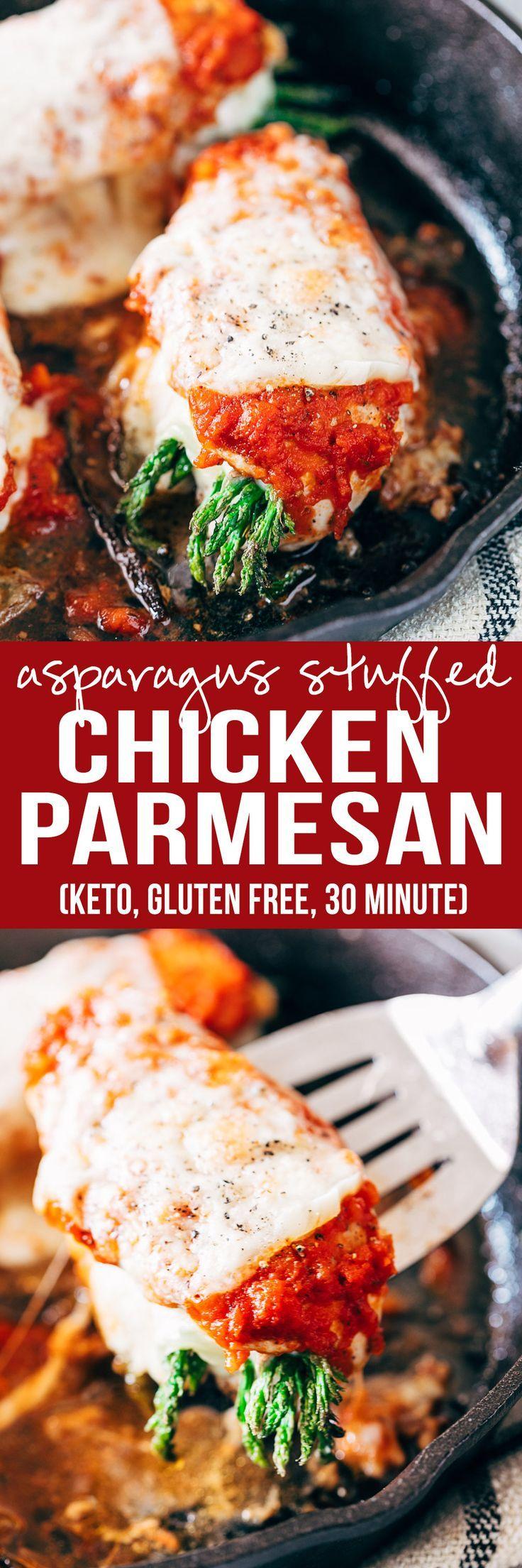 Asparagus Stuffed Chicken Parmesan is a easy, low carb, keto friendly, gluten free dinner recipe | Marinara Sauce | Cream Cheese | Fast Dinner | healthy Dinner Ideas | Cast Iron Chicken
