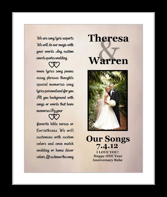 First Wedding Anniversary Gift For Him Her Wife Husband Couple Wedding Song Lyrics Vows Present Giclee Print Her Him