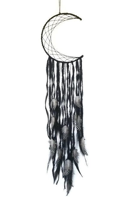 Black Dreamcatcher - Crescent Moon Dreamcatcher - Black Moon Wall Hanging - Black Moon Dreamcatcher - Dark Moon Wall Decor - Wall Decor by Kishayasdreamcatcher on Etsy https://www.etsy.com/nz/listing/512283173/black-dreamcatcher-crescent-moon