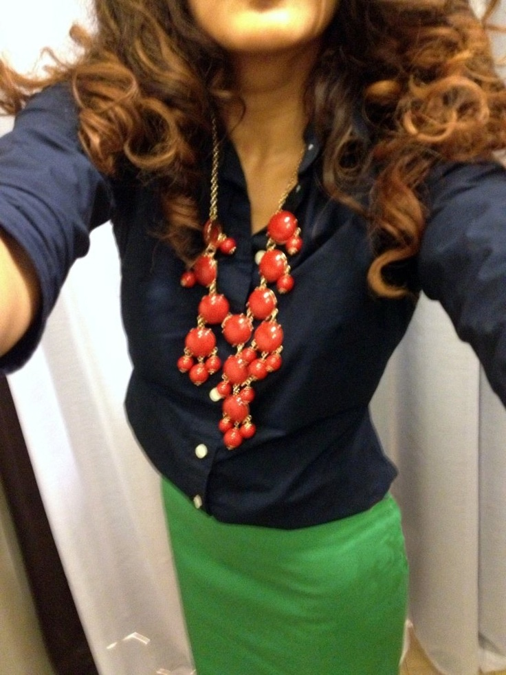 Kelly green pencil skirt & navy blue oxford 3/4 sleeve shirt with an red/orange bubble necklace #JCrew #bubblenecklace
