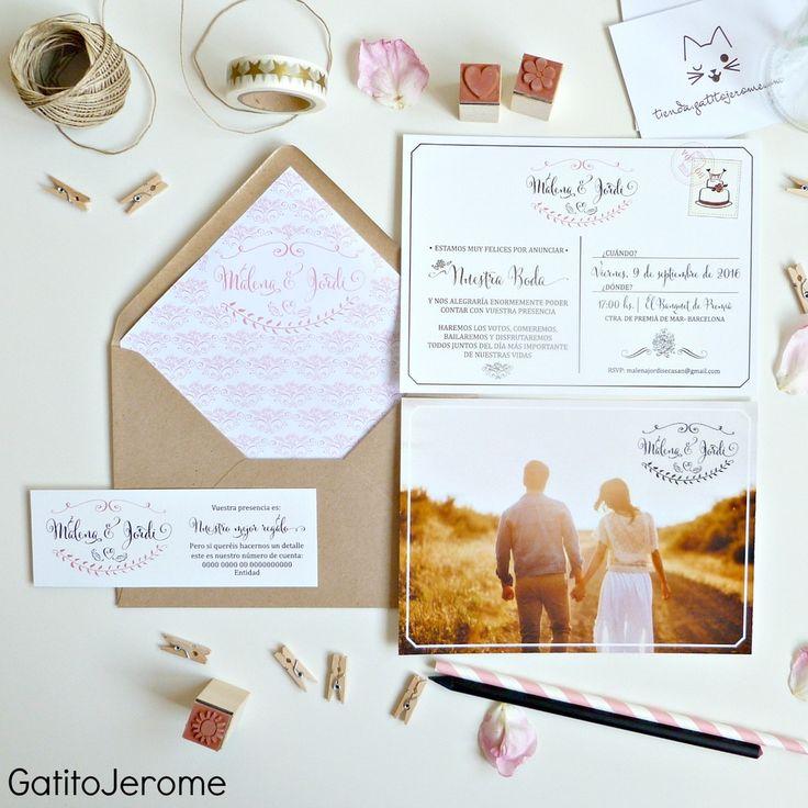 Invitación de BODA Postal Vintage. | Wedding invitations vintage postal