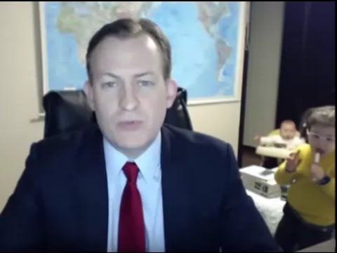 Kids Interrupt Dad's Interview with BBC-Comedy Gold, body Language