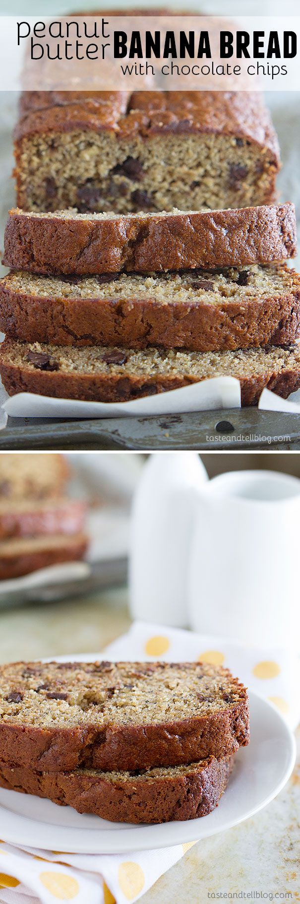 Fit for a king, this Peanut Butter Banana Bread with Chocolate Chips is a fun take on Elvis' favorite flavor combination - peanut butter and bananas.: