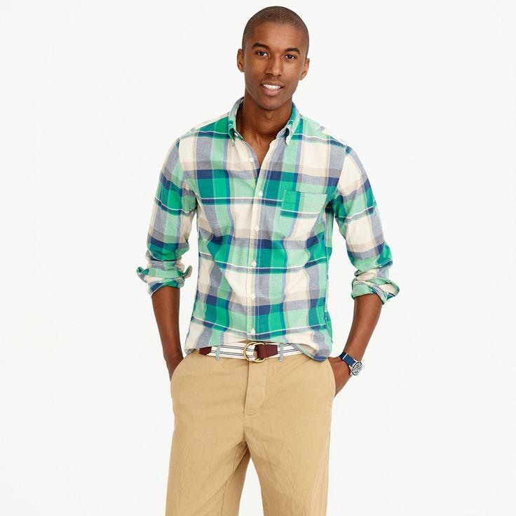 Slim Indian madras shirt in dark pebble : madras shirts | J.Crew