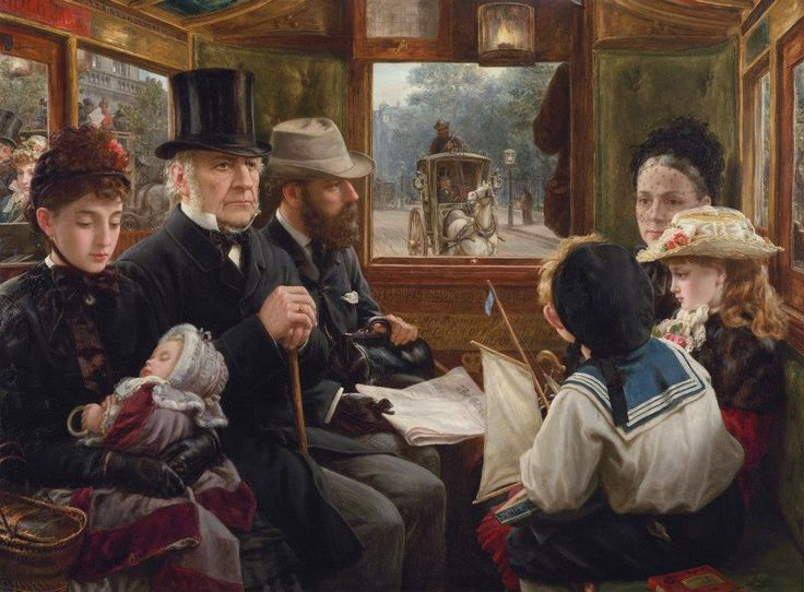 An Omnibus Ride to Piccadilly (Mr Gladstone Travelling with Ordinary Passengers), by Alfred Morgan, 1885