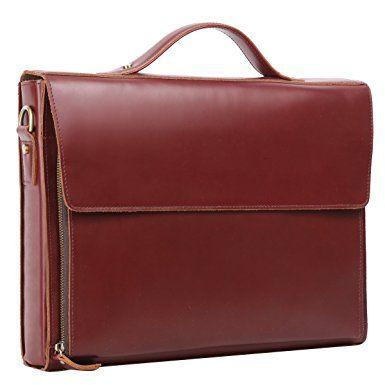 Leathario Leather Briefcase for Men Leather Laptop Bag Shoulder Messenger Bag Business Work Bag
