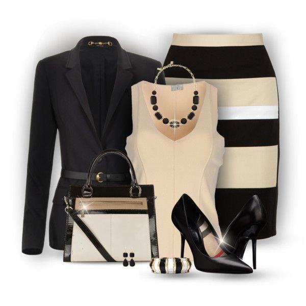 A fashion look from February 2015 featuring beige top, woolen jacket and colorblock pencil skirt. Browse and shop related looks.