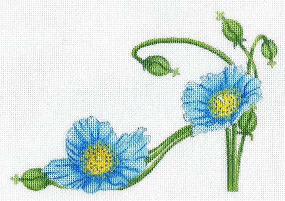 Handpainted NEW Blue Poppy Slipper needlepoint canvas by colors1 (Craft Supplies & Tools, Sewing & Needlecraft Supplies, Canvas & Stitchables, pillow, flower, pattern, home decoration, slipper, shoe, embroidery, cross stitch, flower slipper, needlepoint, needlepoint canvas, poppy, needlepoint pillow)