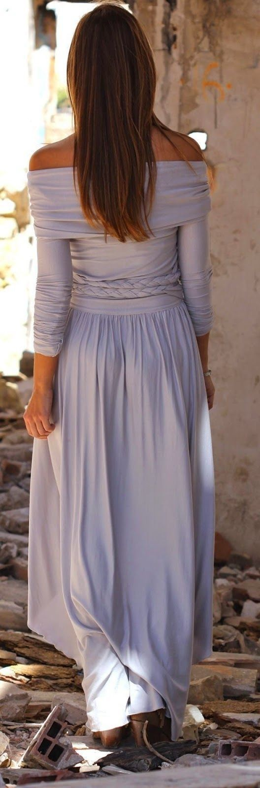 #street #style #spring #2016 #inspiration | Off the shoulder pastel maxi dress