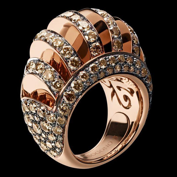 Pink gold - brown diamonds