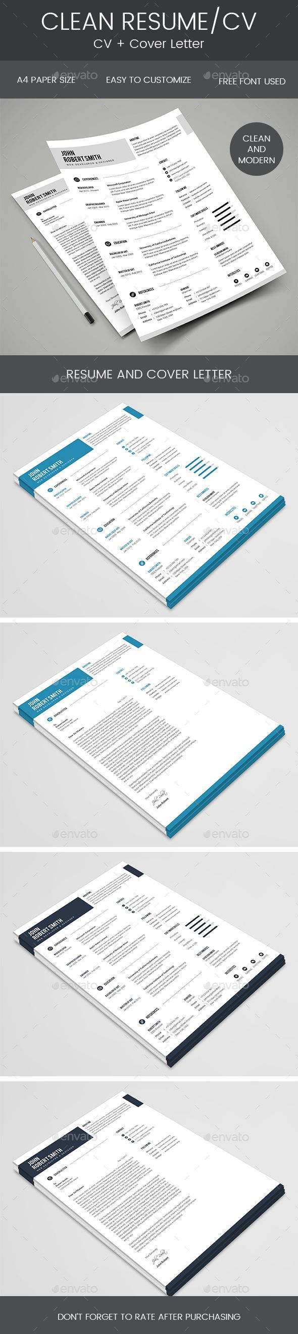 Clean Resume u0026 Cover Letter 400 best