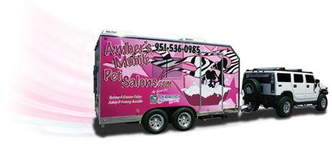 Amber's Mobile Pet Salon trailer, Mobile Pet Grooming Trailers for Dog Grooming, Cat Grooming and Pet Grooming.