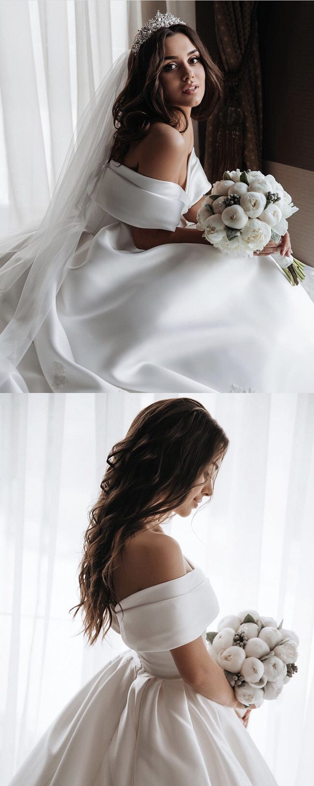 Off The Shoulder Ball Gown Wedding Satin Dresses Lace Embroidery