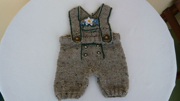 Baby Lederhose gestrickt Größe 56-62