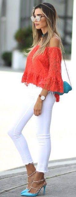 #street #style #fashion #fblogger #spring #outfitideas | Coral + White + Turquoise | Jasmine Tosh Lately