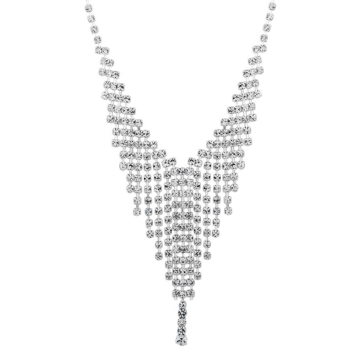 Jon Richard Diamante crystal shower drop necklace- | Debenhams