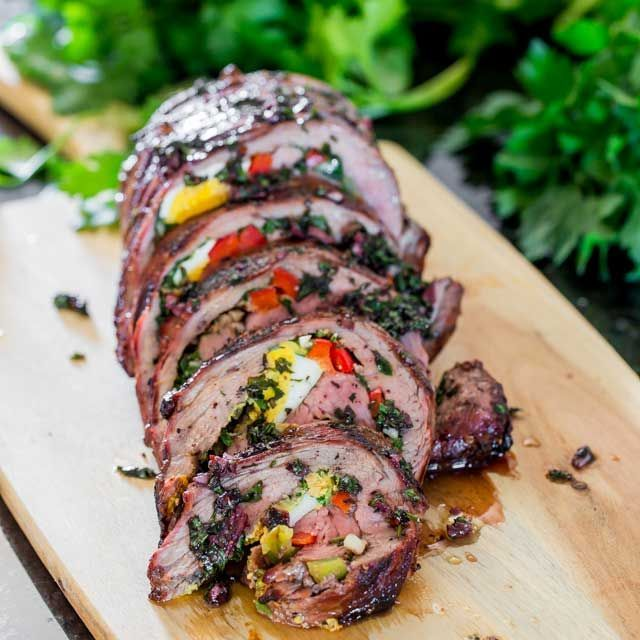 Matambre: An Argentinian Stuffed flank steak with hard boiled eggs, bell peppers and a mixture of cilantro, garlic and olive oil. The matambre is then grilled to perfection and cut into thin slices before enjoying.