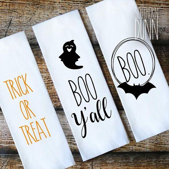 Rae Dunn Inspired Halloween Kitchen Towel – Flour Sack Towel – Tea Towel – Boo Y'all – Trick or Treat – Rae Dunn Halloween