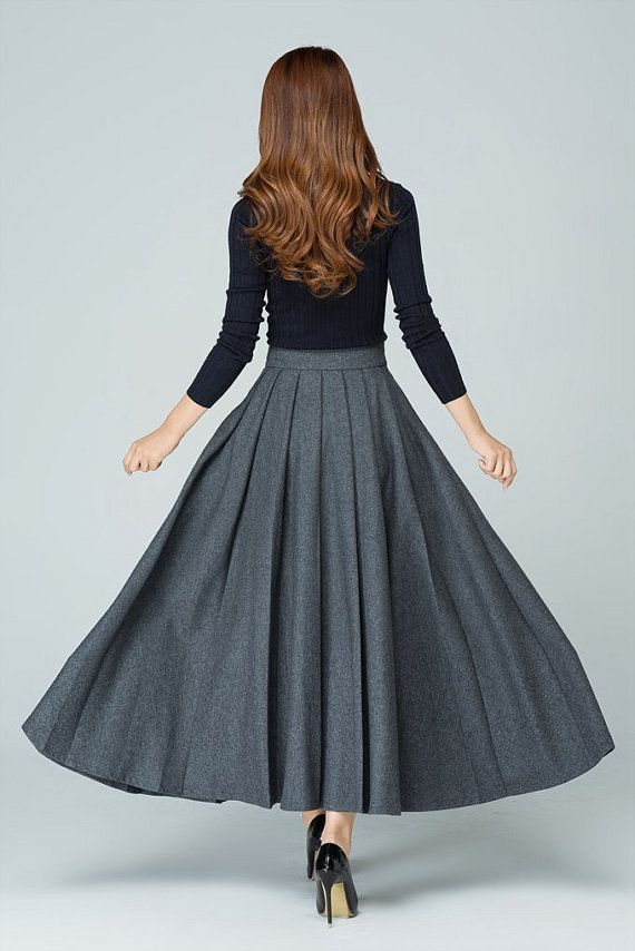 grey skirt long skirt wool skirt. pleated skirt ladies by xiaolizi